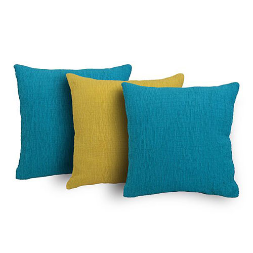 Set of 3 Yellow and Blue Cambric Cushion Cover