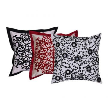 Set of 3 Multi Color Organic Cotton Raw Silk Cushion Cover