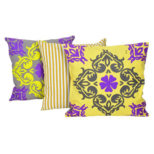 Set of 3 Multi Color Cotton Duck Velvet Cushion Cover