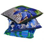 Set of 3 Poly Satin Organic Cotton Cushion Cover