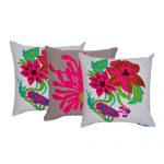 Set of 3 Flower Embroidered Chambray Cotton Cushion Cover