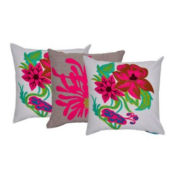 Set of 3 Multi Color Chambray Cotton Cushion cover