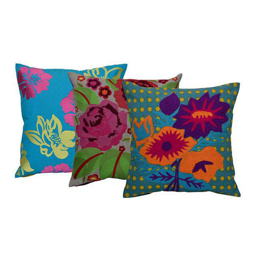 Set of 3 Multi Color Flowers Embroidery Cotton Cushion Cover