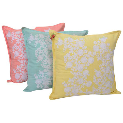 Set of 3 Cotton Sheeting Multi Color Embroidered Cushion Cover