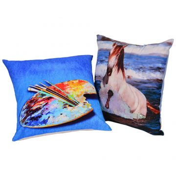 Multi Color Set of 2 Horse Print Cotton Cushion Cover