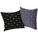 Grey and Black Set of 2 Velvet Cushion Covers