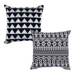 Set of 2 Black and White Organic Cotton Cushion Cover