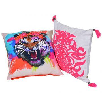 Set of 2 Multi Color Organic Cotton Cushion Cover