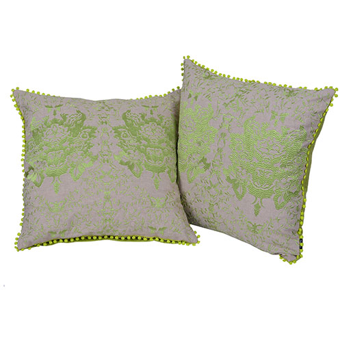 Beige and Green Set of 2 Embroidered Chambray Cotton Cushion Cover
