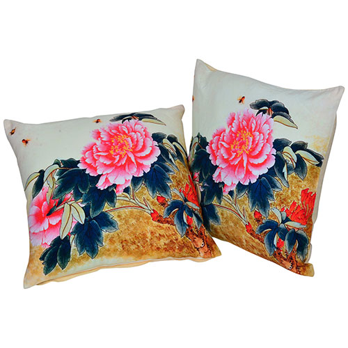 Set of 2 Organic Cotton Multi Color Cushion Cover