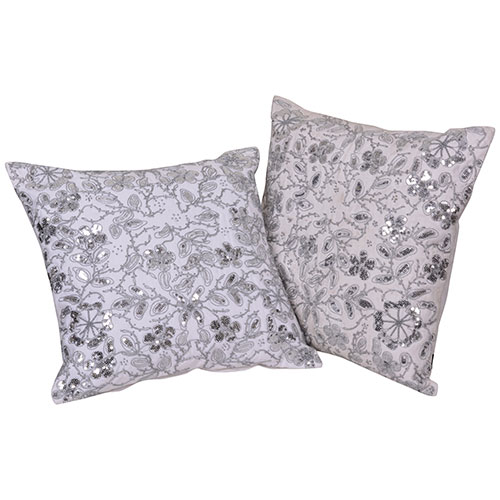 White Set of 2 Organic Cotton Cushion Cover