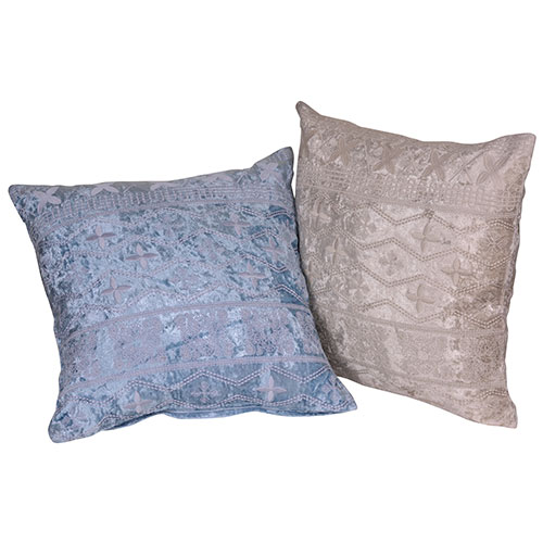 Set of 2 Beige and Blue Poly Velvet Cushion Cover
