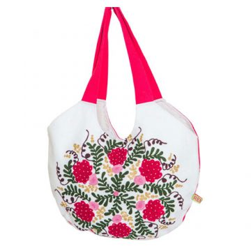 Red and White 100% Cotton Tote Bag For Women (Leaf Bag)