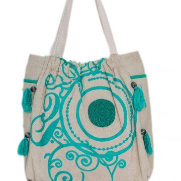 Beige and Green Multi Purpose Bag For Women (NOOR2)