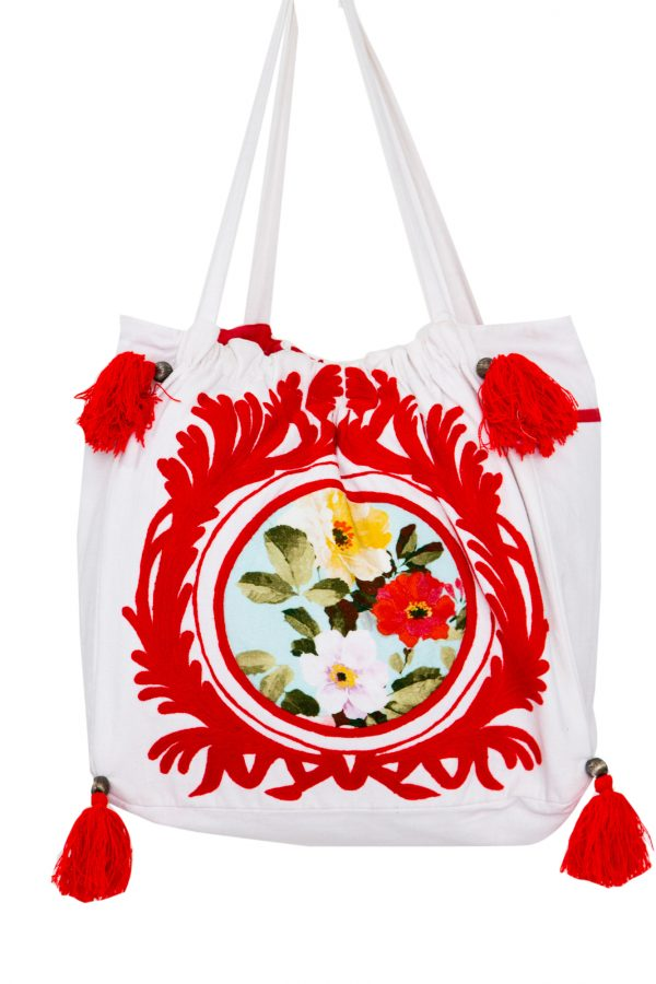 White and Red Cotton Tote Bag