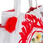 Women White and Red Cotton Tote Bag (NINA2)