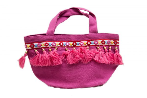 Pink Canvas Small Hand Bag For Women (FUSION)