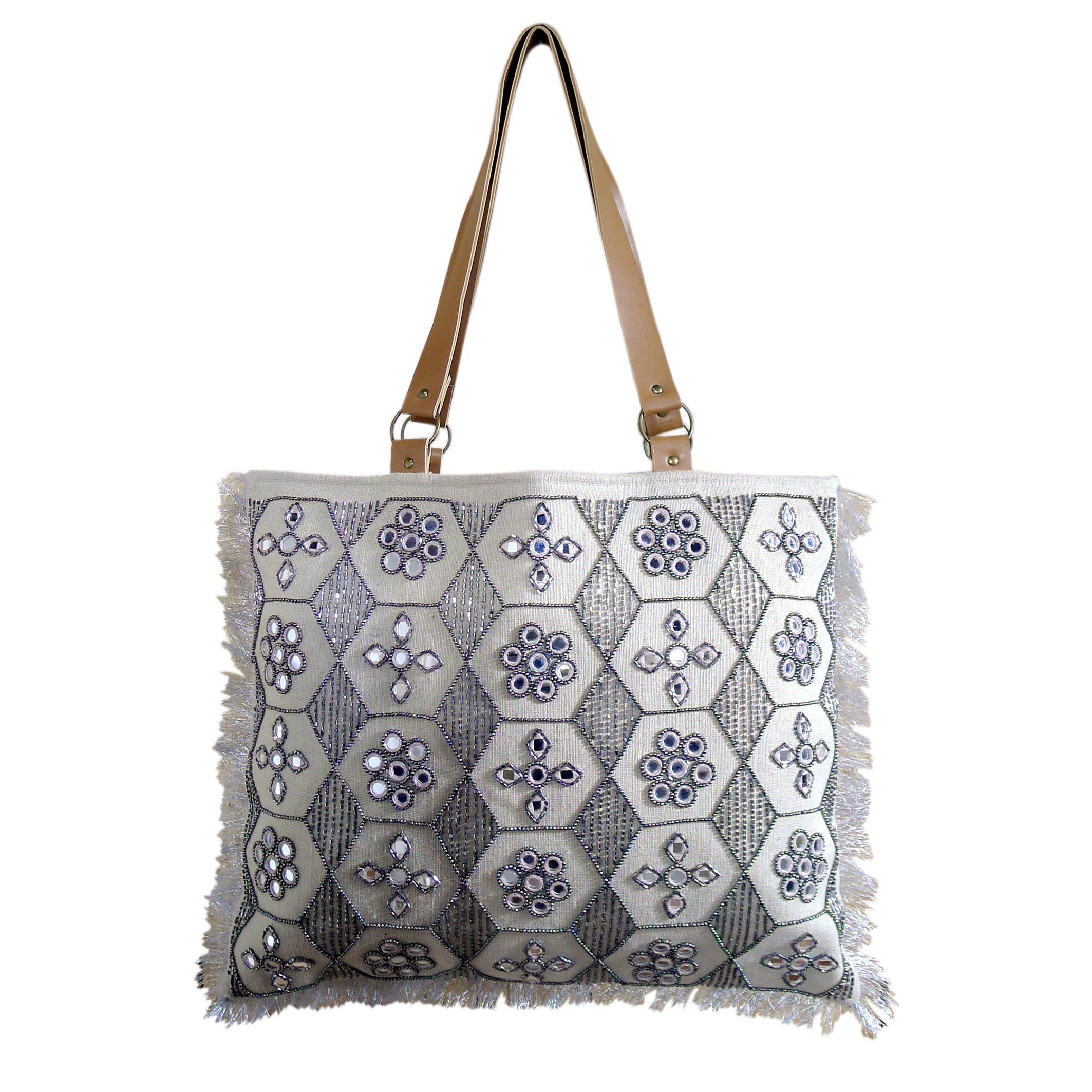 Women Jute Tote Bag with Leather Strap (MAZE)
