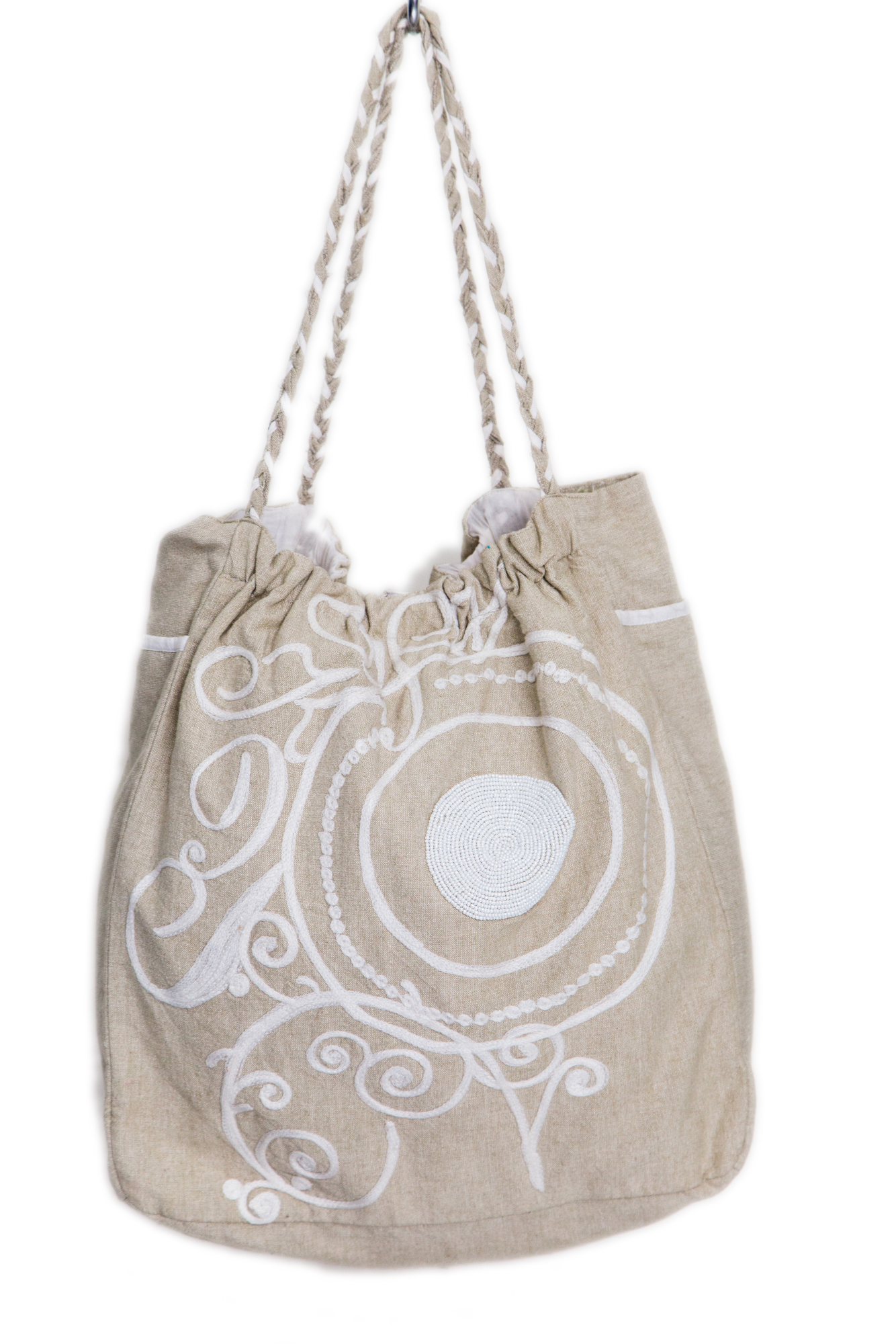 Women Cotton Beige and White Tote Bag (NOOR3)
