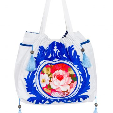 Women Cotton White Tote Bag (NINA1)