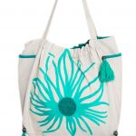 Green and White Jute Tote Bags for Women