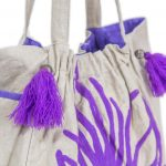 White and Purple Women Tote Bag (NITTY3)
