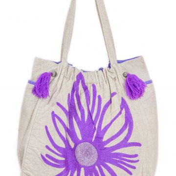 White and Purple Women Tote Bag