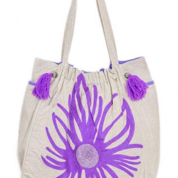 White and Purple Women Tote Bag