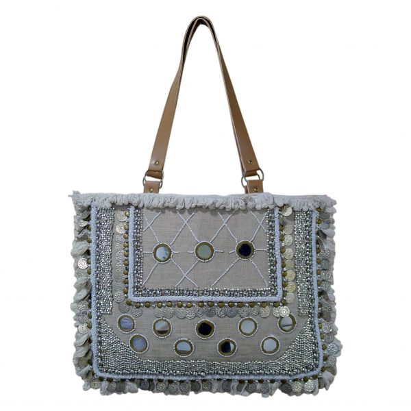 Embroidered Handbag with Leather Straps