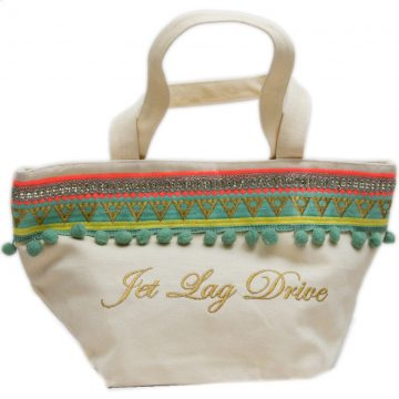 Green and White Canvas Vanity Bag For Women (GRAPE)