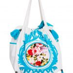Sky Blue and White Cotton Tote Bag For Women (NINA3)