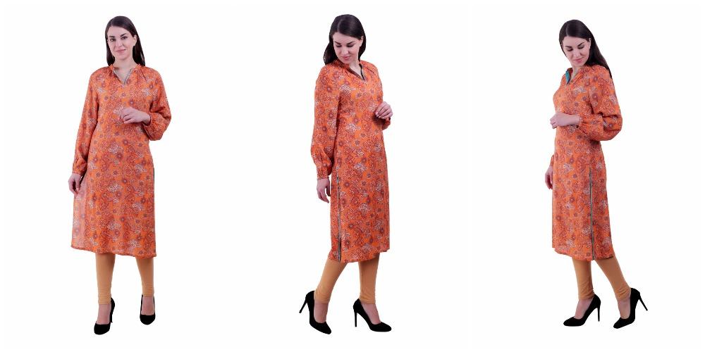 Women Traditional Wear Orange Kurta (Panzy)