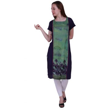 Digital printed straight kurta knee length with half sleeves For Women (ROME)