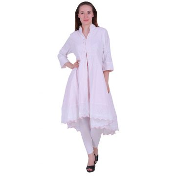 Beautiful Schiffli Embroidery White Flair Kurti (Raina)