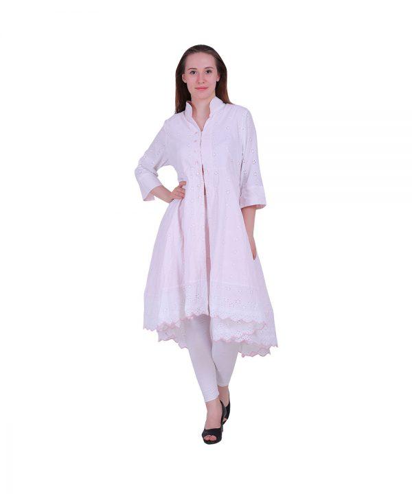 Beautiful Schiffli Embroidery White Flair Kurti (Raina)