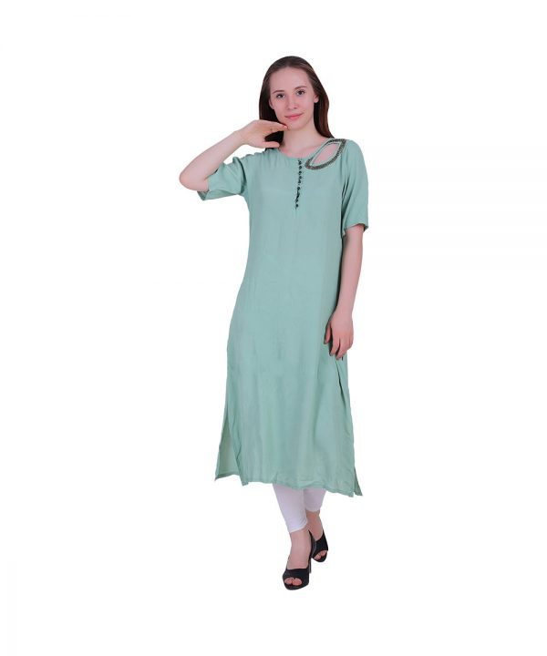 Moss Georgette Sky Blue Leaf Shape Kurta (Ginger)
