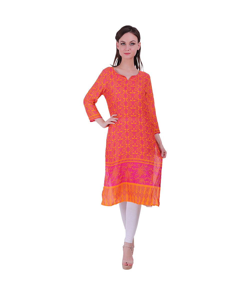 Viscose Model Orange Color Kurta (Karma)