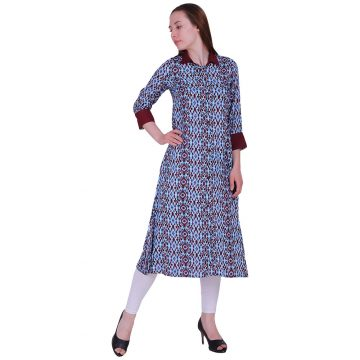 Viscose Blue and Brown Color Straight Kurti (Ikhat)
