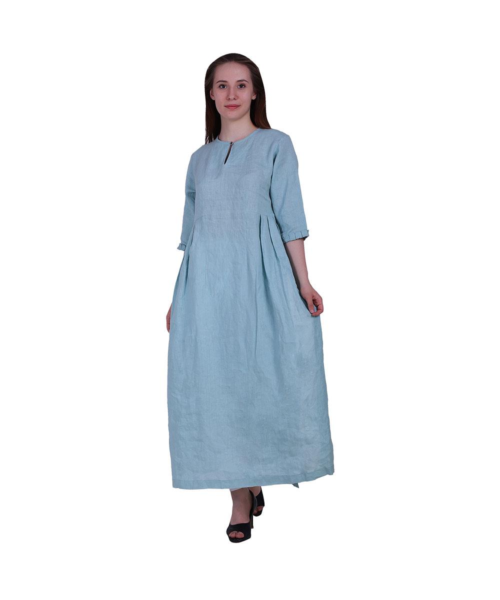 Gown Style Organic Sky Blue Kurta (Parrot)