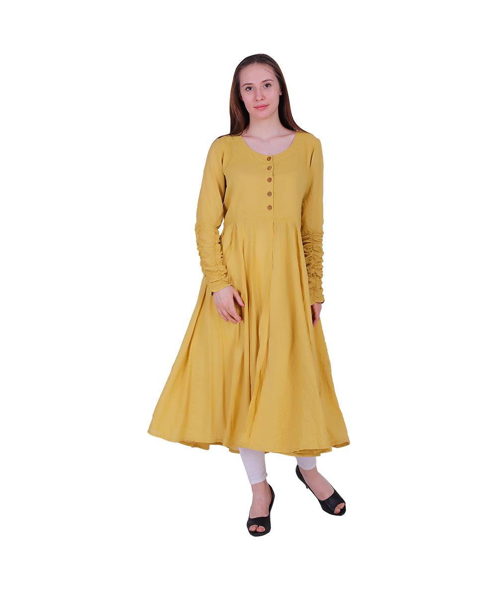 Gown Style Yellow Color With Wooden Button Flair Kurta (RINA)