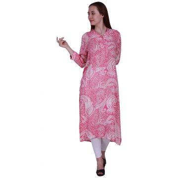 Rayon Fabric Straight Style With Chinese Collar Pink and White Color Kurta (ROOPA)