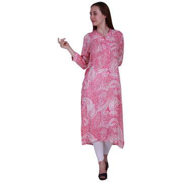 Pink and White Rayon Chinese Collar Kurta (ROOPA)