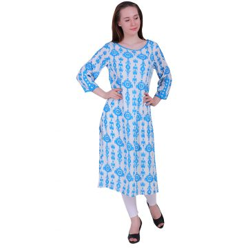Blue White Rayon Straight Kurti With 3/4 Sleeves Kurta (RUP)