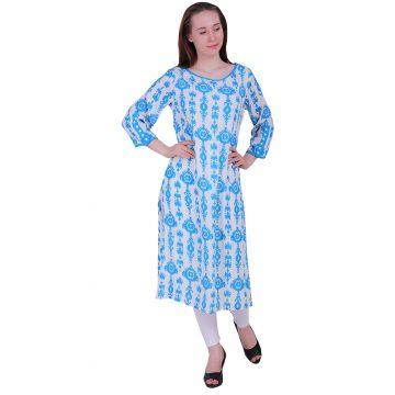Blue White Rayon Straight Kurti With 3/4 Sleeves Kurta (RUP)
