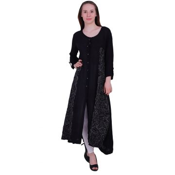 Embroidery Panels 3/4 sleeves With Black Color Rayon Flair Kurta (KALI)