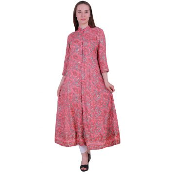 Pink Stylish Rayon Flair With Red Color Kurti (PICHU)