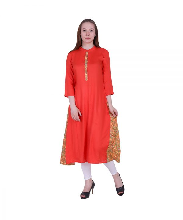 Rayon Fabric Stylish Collar With 3/4 Sleeves Orange Color A Line Kurta (PREM)