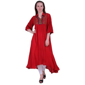 Rayon Fabric Collar Long Gown Dress With Red Color (LAILA)