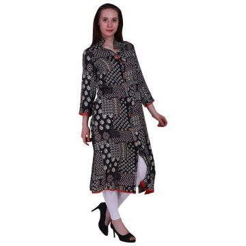 Black Rayon Party Wear Kurti for Woman (Block)