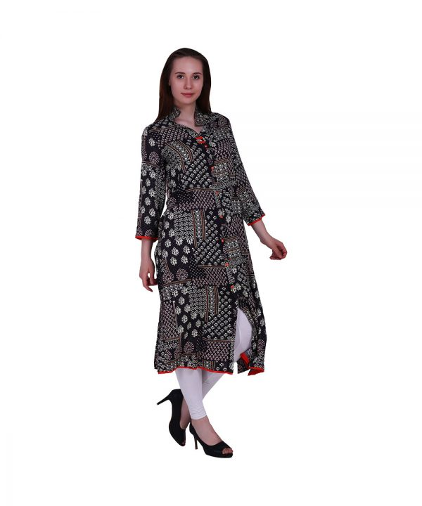 Straight Style Rayon Fabric Black Color With Collar (Block)